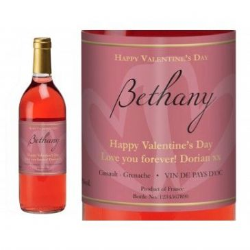 Pink Valentine Hearts Personalised Rosé Wine
